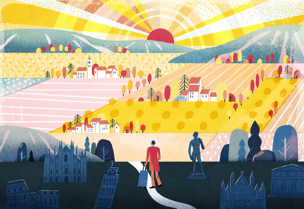 Italy's Most Rewarding Small Towns—and Why They Beat Rome, Florence and Venice Illustration for The Wall Street Journal Off Duty about travel to Italy. AD Forest Evashevski
