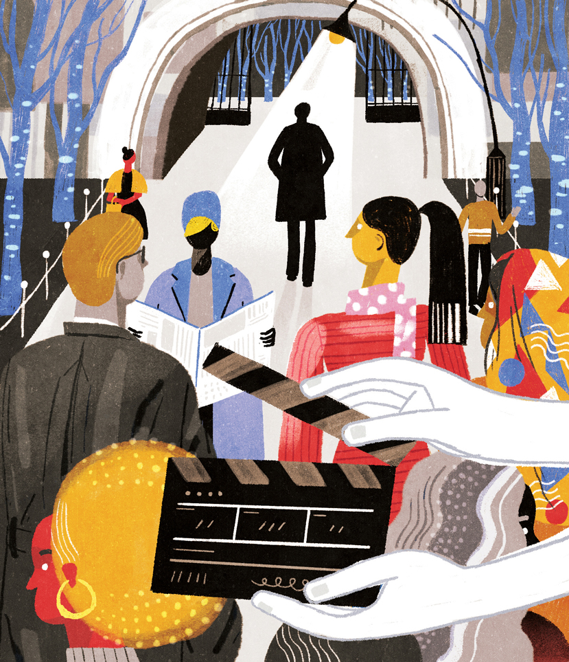 Illustration for Variety Magazine about we should have more diversity in background players in film production.