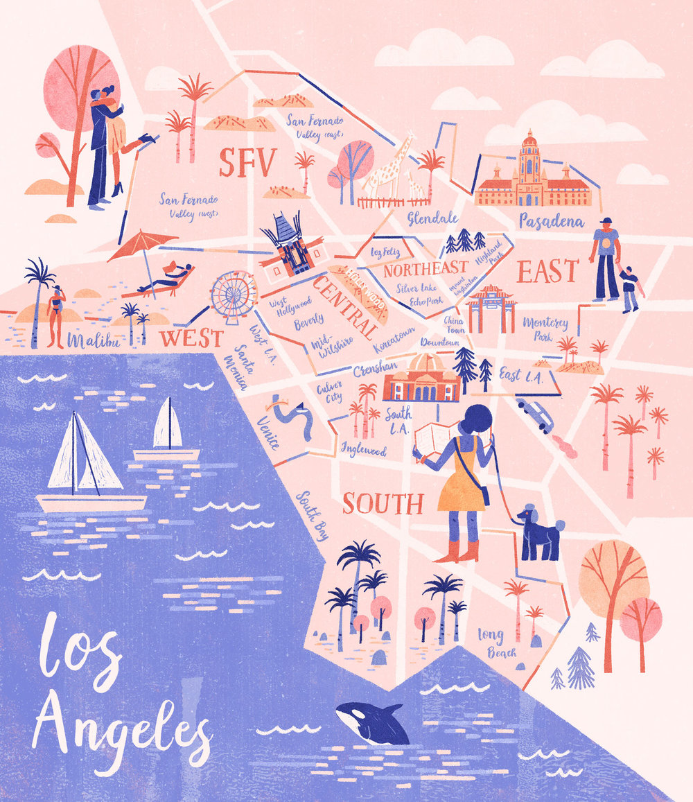 Map Illustration for LA Weekly's Best of LA: The Neighborhood Edition AD Darrick Rainey