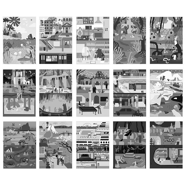 Sneak peek of some thumbnails for a picture book I'm working on.