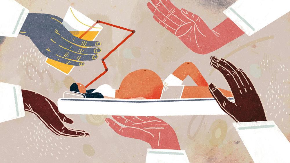 Bedrest Is Bunk    Illustration for The Atlantic on questioning pregnancy bedrest. AD Arsh Raziuddin