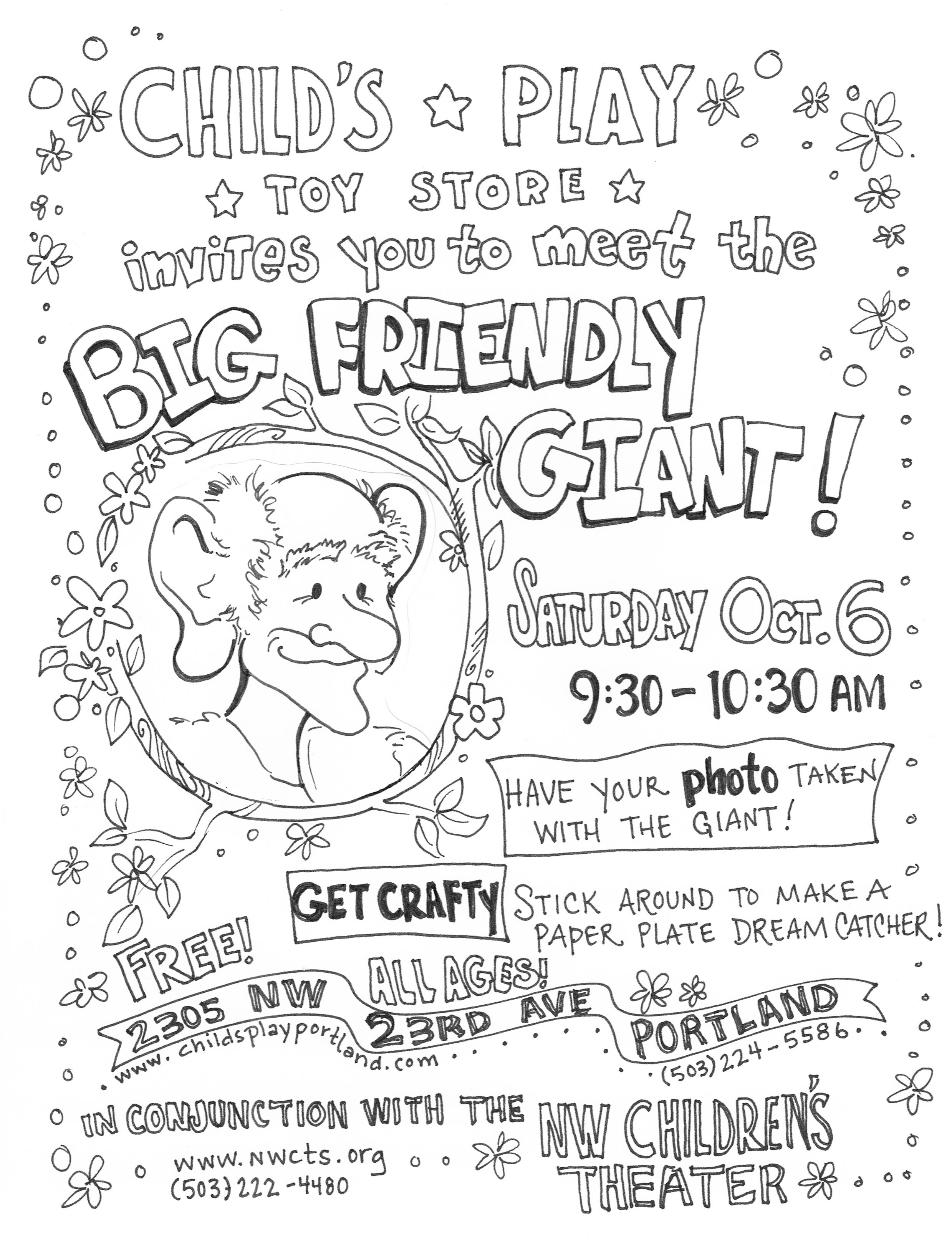 The Bfg Big Friendly Giant Coloring Page Sketch Coloring Page