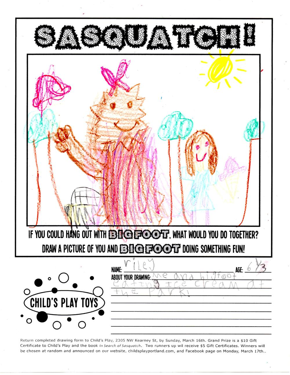 sasquatch drawing contest winner in portland