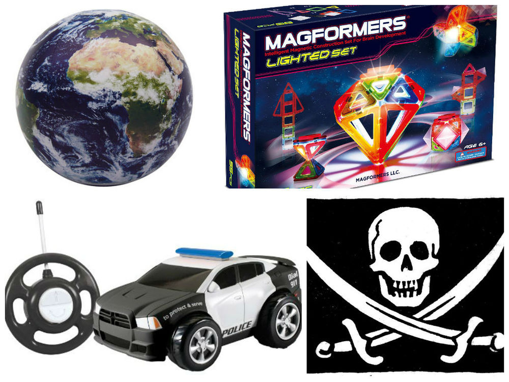 Clockwise from top left:  Inflatable Astro Globe now $24.99, Light-Up Magformers now $74.99, Pirate Flag now $3.99, My First RC now $19.99