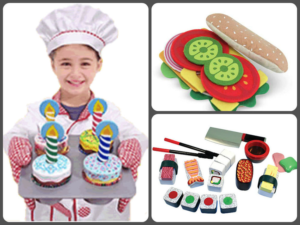 Clockwise from left:  Bake & Decorate Cupcakes, Ages 3+  now $17.99.   Felt Sandwich Set, Ages 3+  now $17.99.  Wooden Sushi Set, Ages 3+  now $17.99.