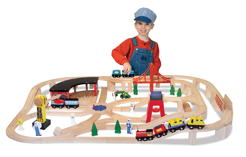 Wooden Railway Set by Melissa & Doug, Ages 3+  sale price thru Oct. 31st  $103.99 (regular price $129.99)