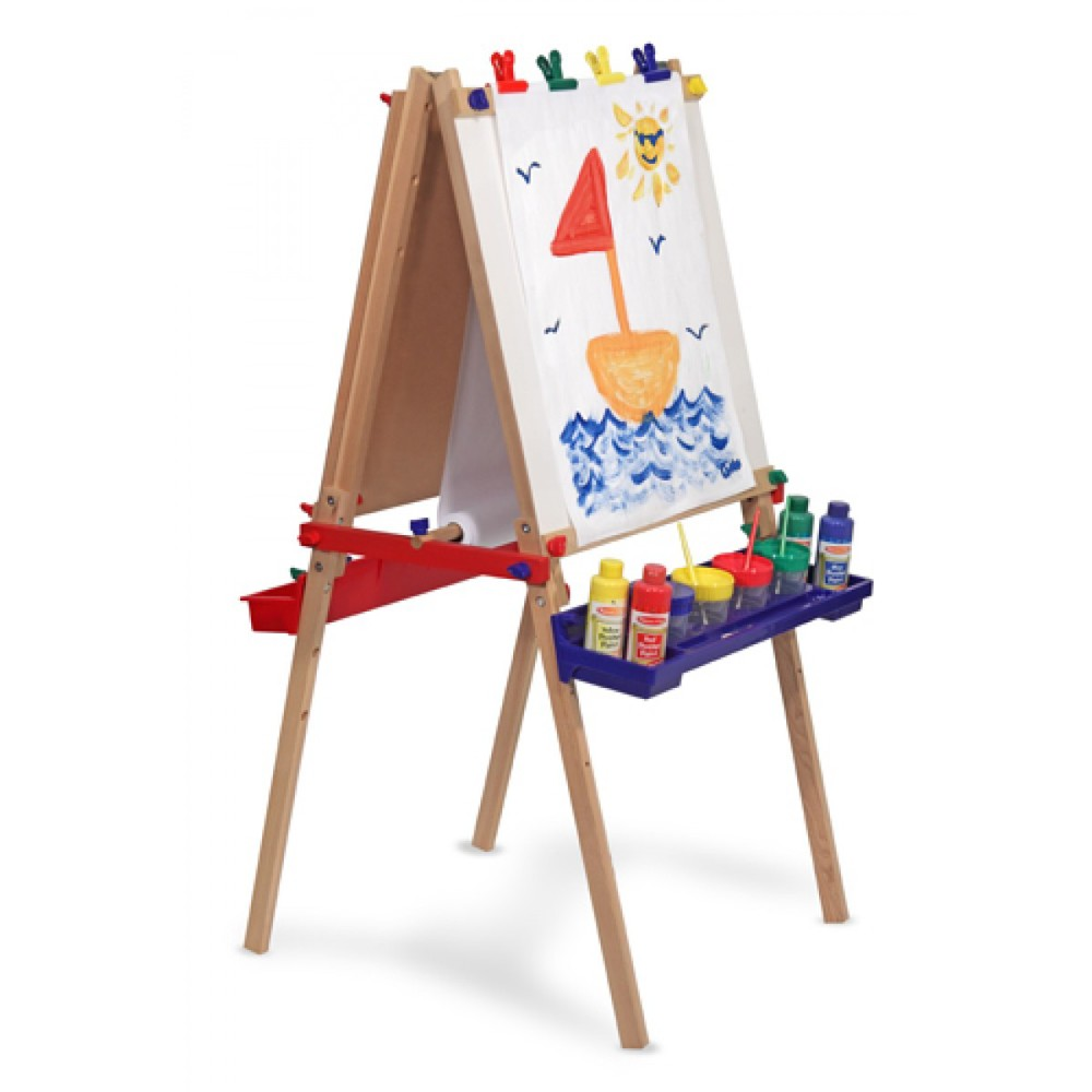 Two-Sided Easel by Melissa & Doug, Ages 3+ sale price thru Oct. 31st $63.99 (regular price $79.99) This is by far our best-selling easel. We even use it in the store! The versatility of this toy is huge - dry erase on one side, chalkboard on the other, and a paper roll that can cover either side for painting. Plus, it has 3 adjustable heights that grow with your child. Stop by and check out our sample in front of the store.