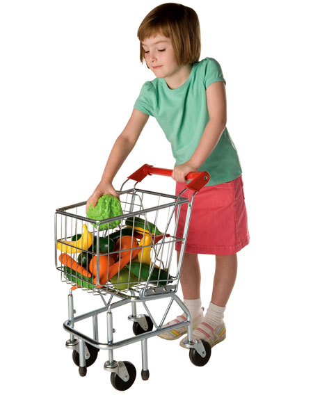 Shopping Cart by Melissa & Doug, Ages 3+ sale price thru Oct. 31st $55.99 (regular price $69.99)This shopping cart is the real deal. The heavy gauge steel construction and 360 degree pivoting wheels are just like the ones on full-size carts at the grocery store. As a matter of fact, these are manufactured by the same people. Bonus point: assembly takes like 2 minutes.