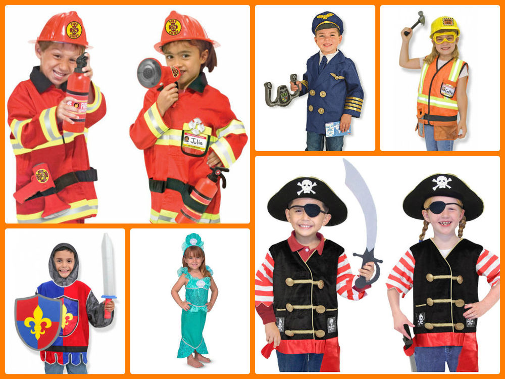Costumes by Melissa & Doug, Sized for ages 3-6  $29.99  Melissa & Doug make some of the best costume sets! Each set comes with everything you need (the pilot costume even comes with a jet steering wheel!)  Trick or Treat as any of the sets shown above, or a Vetrinarian, Rockstar, Superhero, Doctor, Cowboy, Ballerina, or Fairy.
