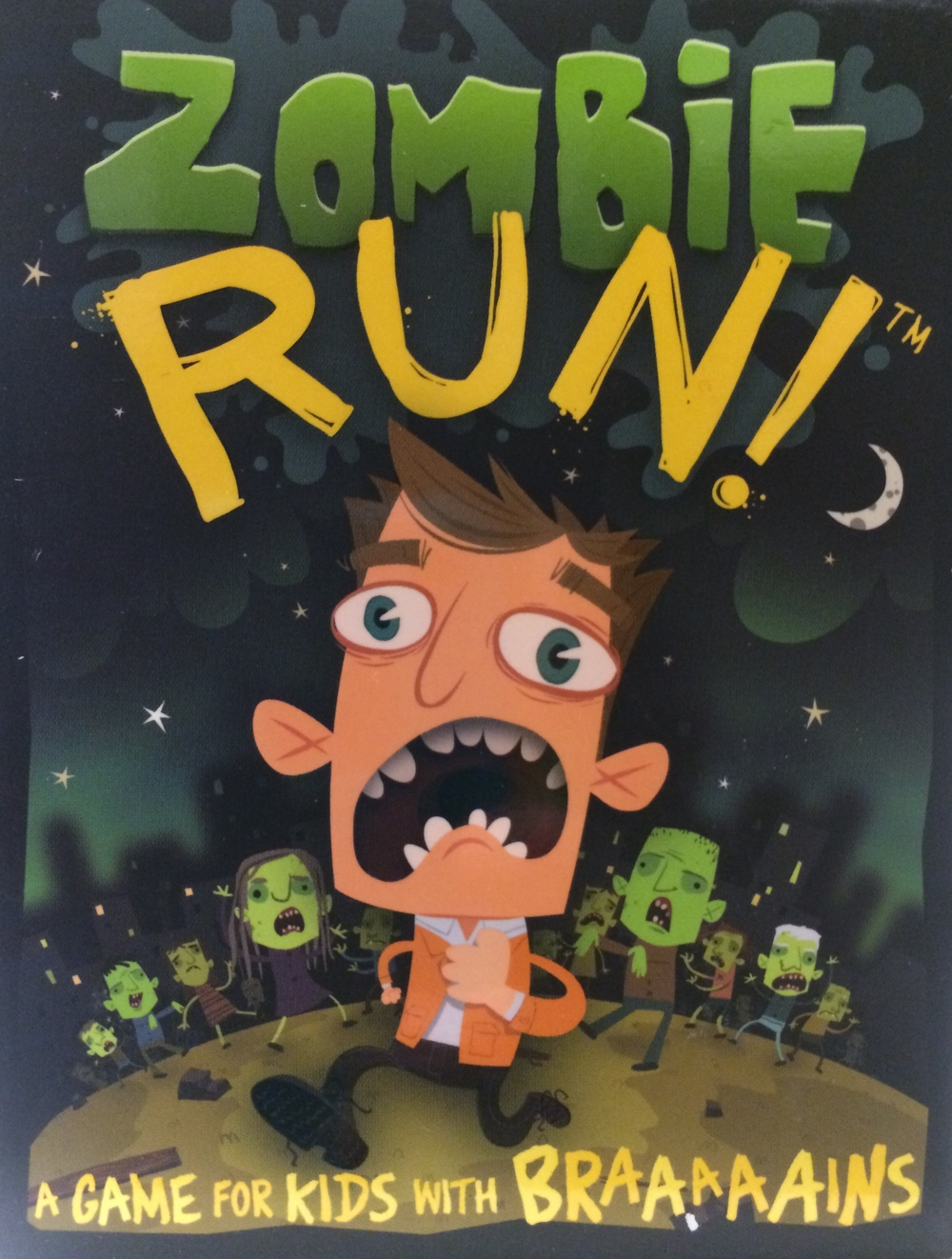 Zombie Run!, Ages 7+ $7.99  Zombies have invaded the town!  Be the player with the lowest number of zombies chasing after them and you win the game!  Combines memory with luck and is the ultimate card game for kids with braaaaaains!