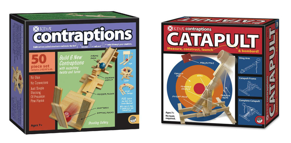 Keva Construction Kits, Ages 7+  Catapult  $27.99, Contraptions  $19.99