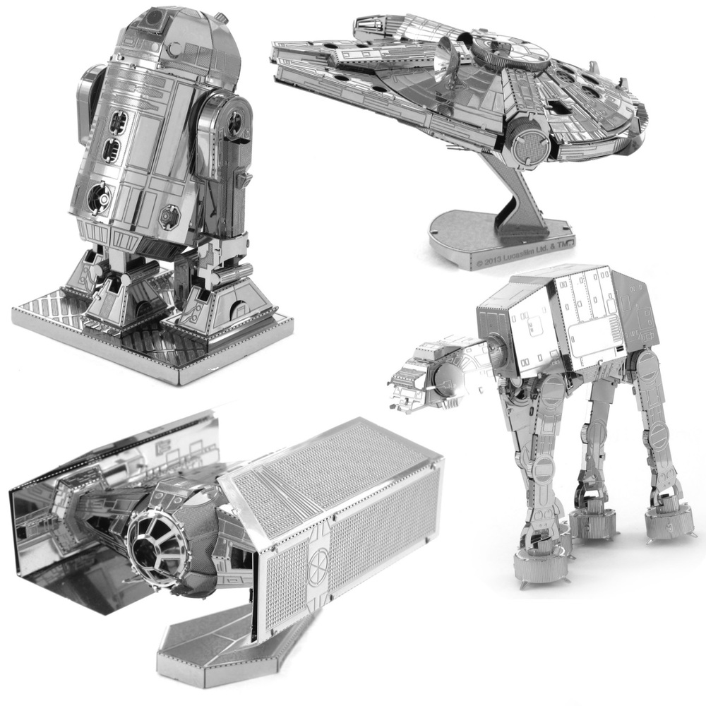 Star Wars Metal Marvels, available in Millennium Falcon, R2D2, AT-AT and Tie Fighter, Ages 12+  $12.99