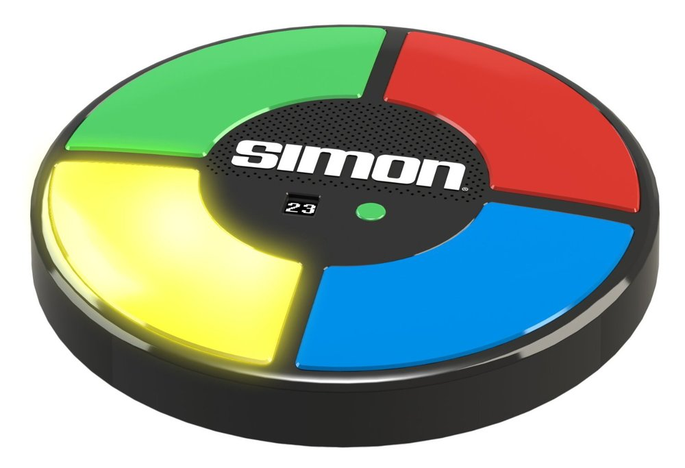 Simon, Ages 7+ $24.99 Introduce your children to one of your childhood loves. Simon is back with the same flashing lights, sounds and challenge. Choose from one of the original three games and find out if you can conquer the colors!