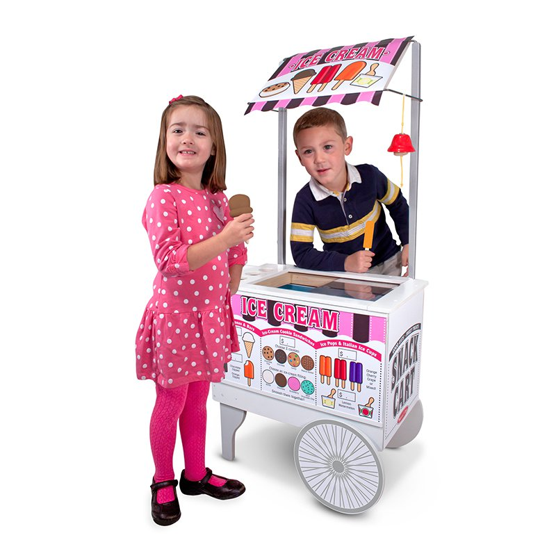Snack Cart by Melissa & Doug, Ice cream on one side, hot dogs & fries on the other!  Ages 3+  SALE price $99.99 (originally $199.99)