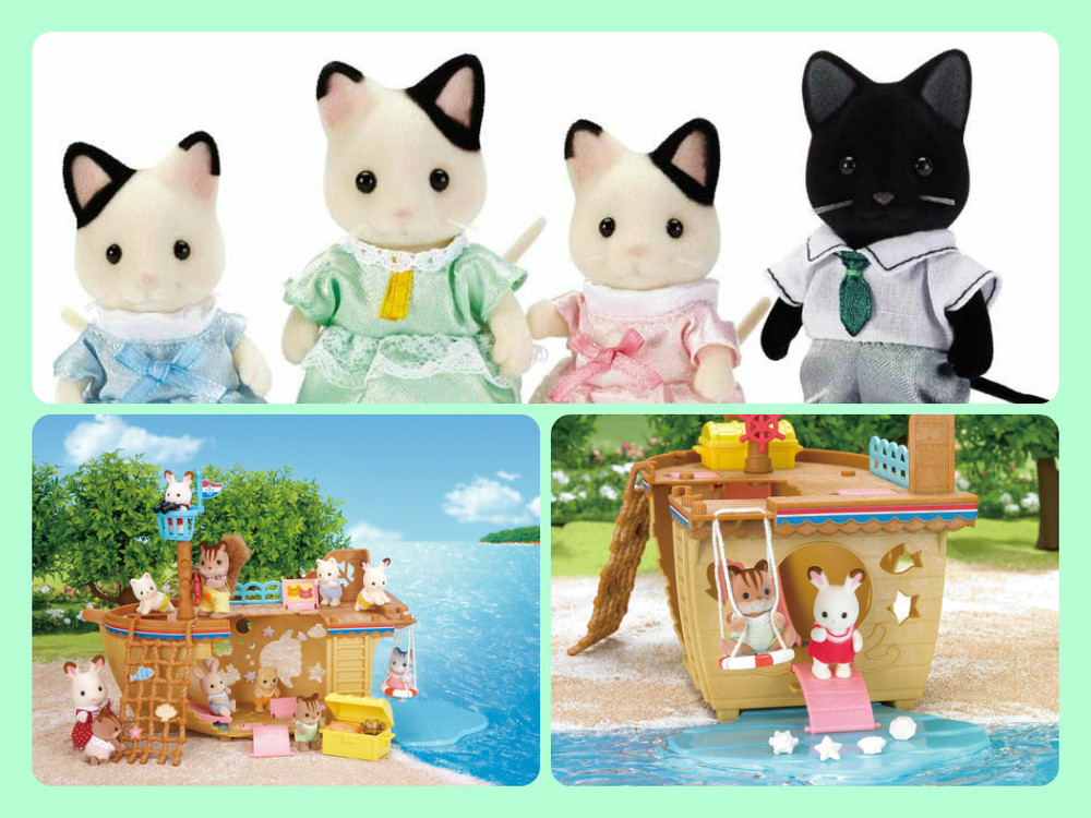 New Calico Critters!  Tuxedo Cat Family, Ages 4+  $24.99,  Adventure Treasure Ship, Ages 4+  $32.99