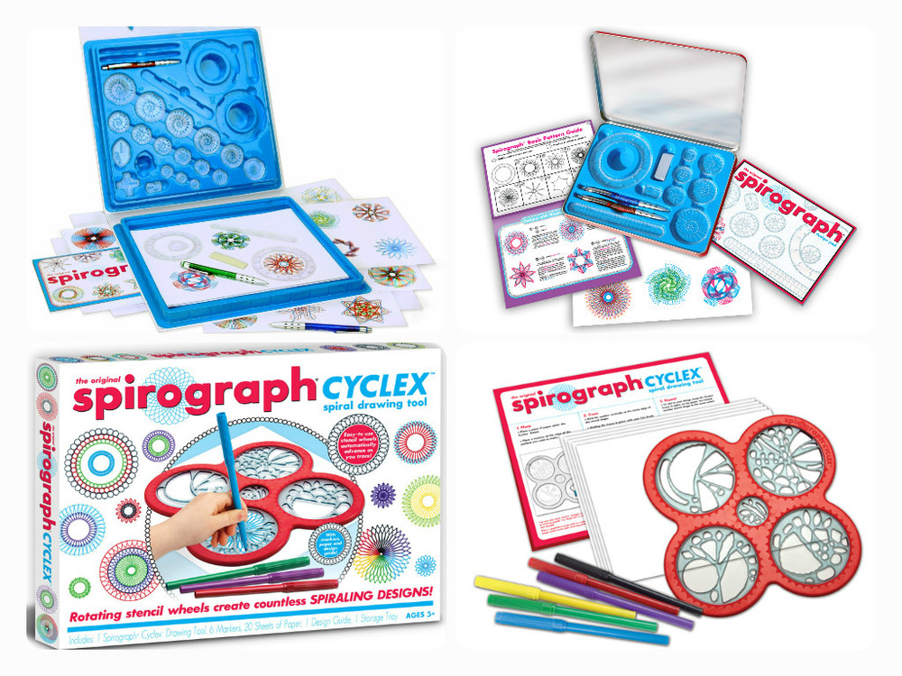 Pictured clockwise from top left: Spirograph, Ages 8+  $29.99, Spirograph Travel Tin, Ages 8+  $14.99, Spirograph cyclex - with the discs hooked in!  Try it out at our front counter!, Ages 5+  $14.99