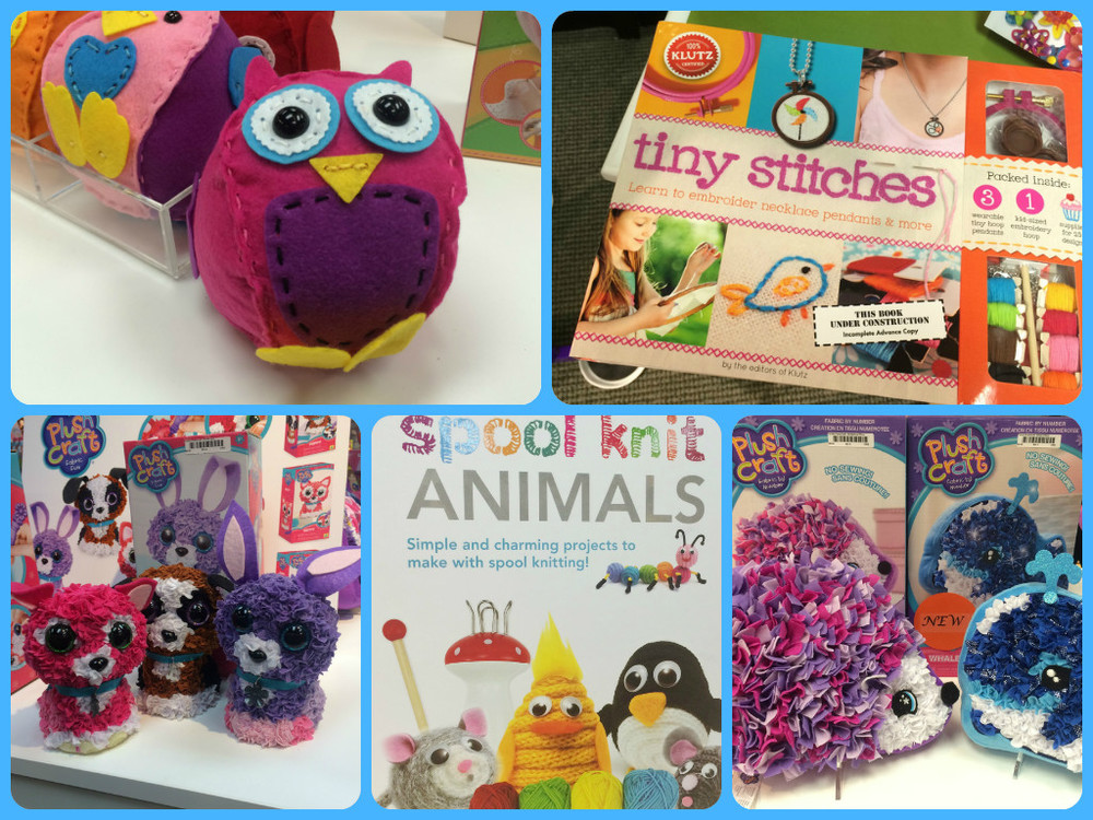 Clockwise from top left:  Oh Sew Cute sewing kits, Tiny Stitches by Klutz, No Sew Pillow Kits in whale and hedgehog, Spool Knit Animals by Spicebox, Create a Plush Critter Kits