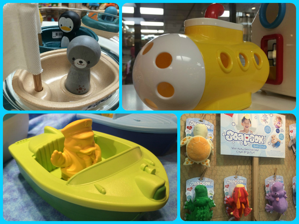 Clockwise from top left:  Boats by Plan Toys, Submarine by Kid-O, Soapsox as featured on Shark Tank, Ducky Boat by Green Toys