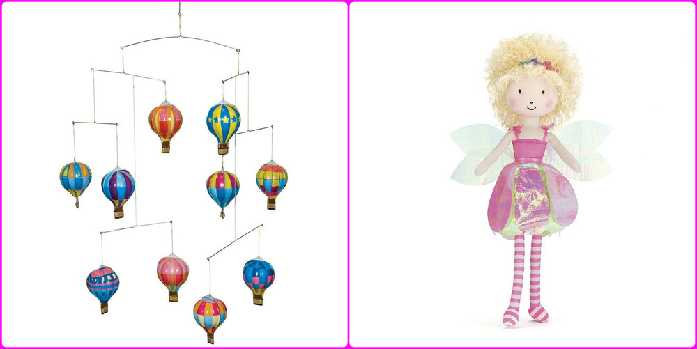 Tin Hot Air Balloon Mobile, left, $29.99 Flutter Fairy by Jellycat, right, $19.99