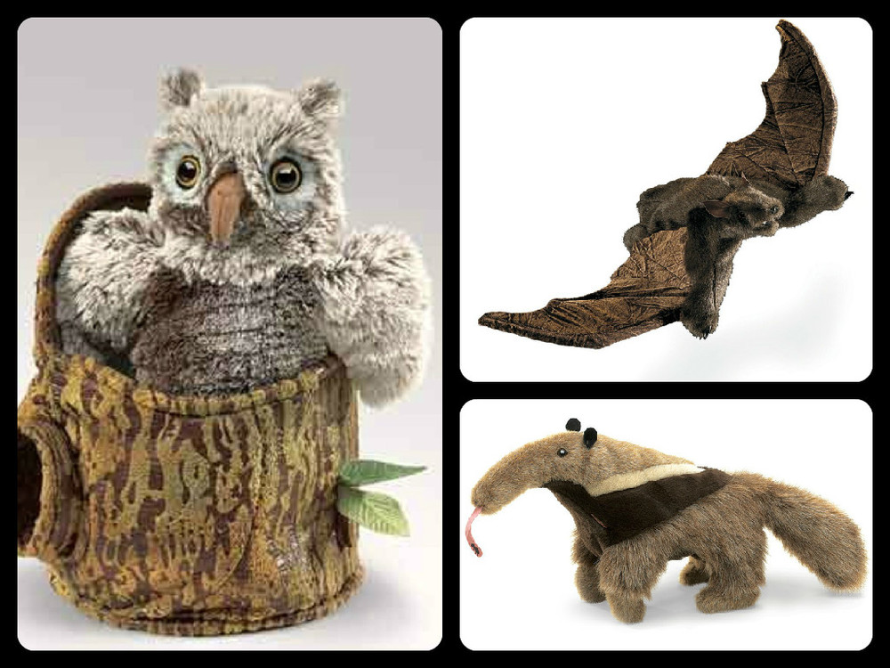 Folkmanis Puppets, clockwise from left: Owlet in Tree $29.99, Brown Bat $27.99, Anteater $27.99