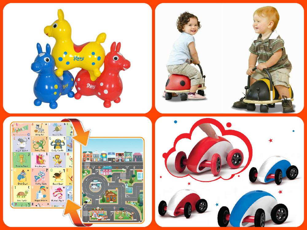 Clockwise from top left: Rody $41.24(regular price $54.99), Wheely Bugs - Large $67.49(regular $89.99)Small $56.24(regular price $74.99), Wonky Wheels $7.49(regular price $9.99), Play Mat $29.99(regular price $39.99). Robot Chalkboard $13.49(regular price $19.99)