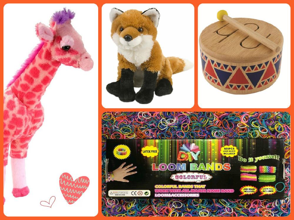 Clockwise from left: Pink Giraffe $22.49(regular price $29.99), Cuddly Red Fox $13.49(regular price $17.99),Wooden Drum by Plan Toys $18.74(regular price $24.99), Loom & Tool Bracelet Maker $11.24(regular price $14.99)