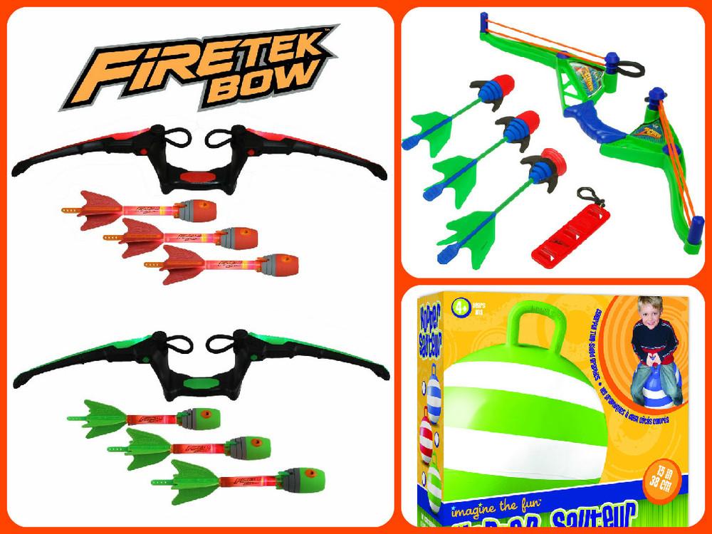 Clockwise from left: Fire Tek Zeon Bow $14.99(regular price $19.99), Z Curve Bow $26.24 (regular price $34.99), Hopper Ball $14.99(regular price $14.99)