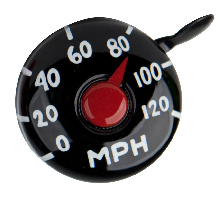 Bike Bell, available in Speedometer (shown), Cupcake and Ladybug $17.99