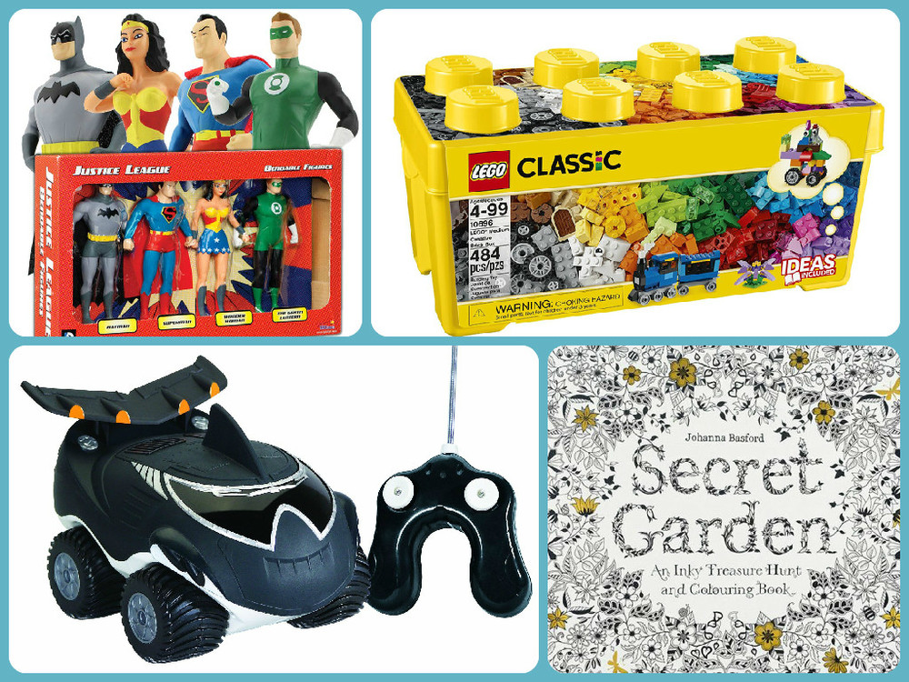 Clockwise from top left: Justice League Bendable Figures, Ages 3+ $29.99,Lego Creative Box, Ages 4+ $42.99, Secret Garden: An Inky Treasure Hunt and Coloring Book, Ages 8+ $15.95, Morphibians, Ages 3+ $44.99