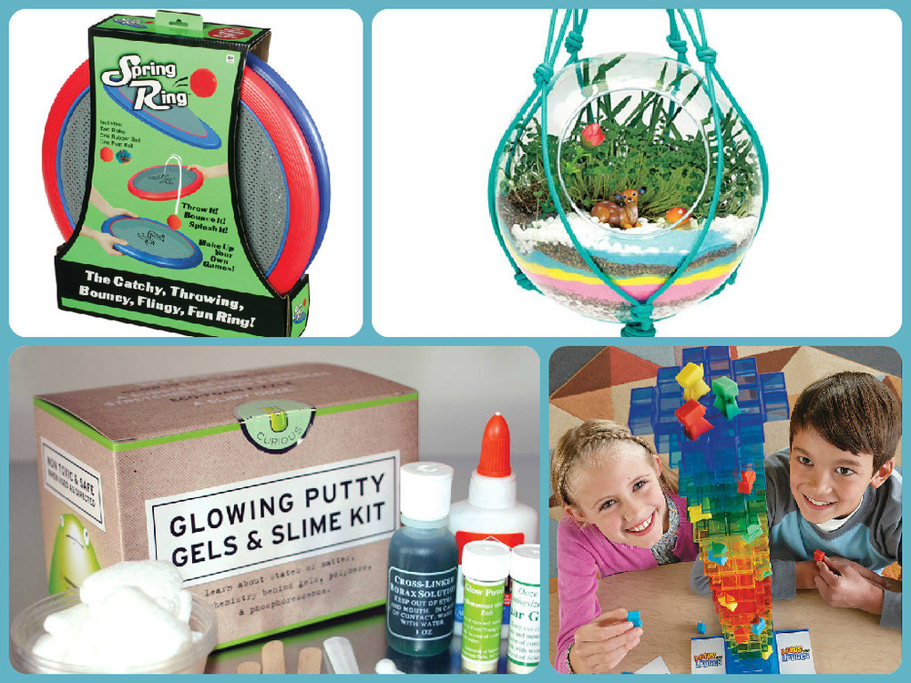 Clockwise from top left: Spring Ring, Ages 4+ $24.99, Macarme Terrarium Kit, Ages 7+ $19.99, Leaps & Ledges, Ages 8+ $29.99, Glow Putty Kit, Ages 10+ $17.99