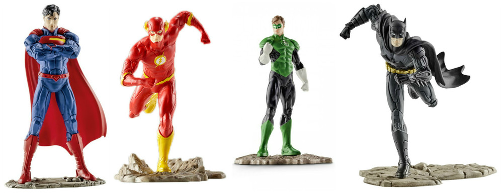 Justic League Figures by Schleich,$9.99 for single, $19.99 for Hero/Villaincombo packs