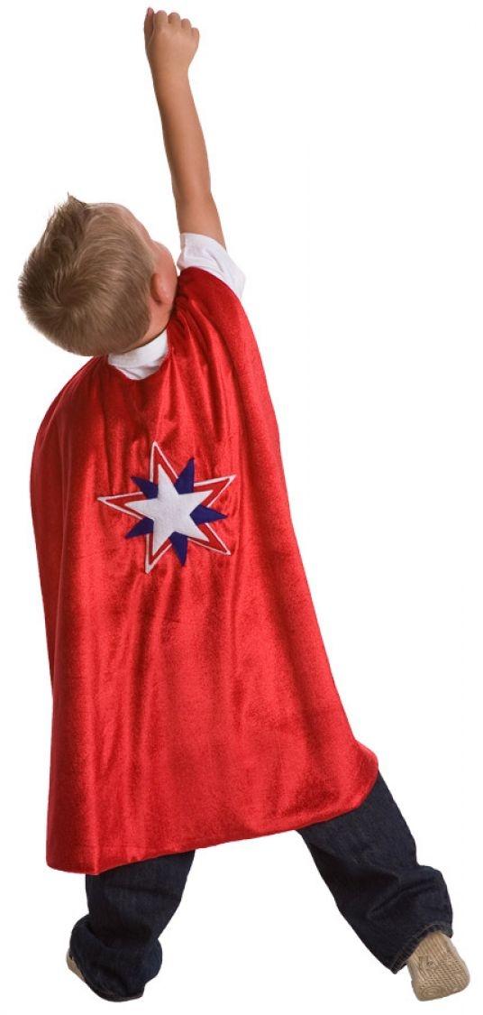 Super Hero Capes, available in Star (red only) orLightning Bolt (red or pink), sized for ages 3-9 $17.99