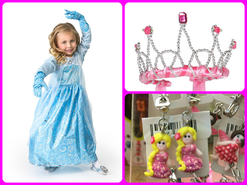 Clockwise from left: Princess Gloves $7.99, Ribbon Tiara $12.99, Clip-On Earrings $5.99