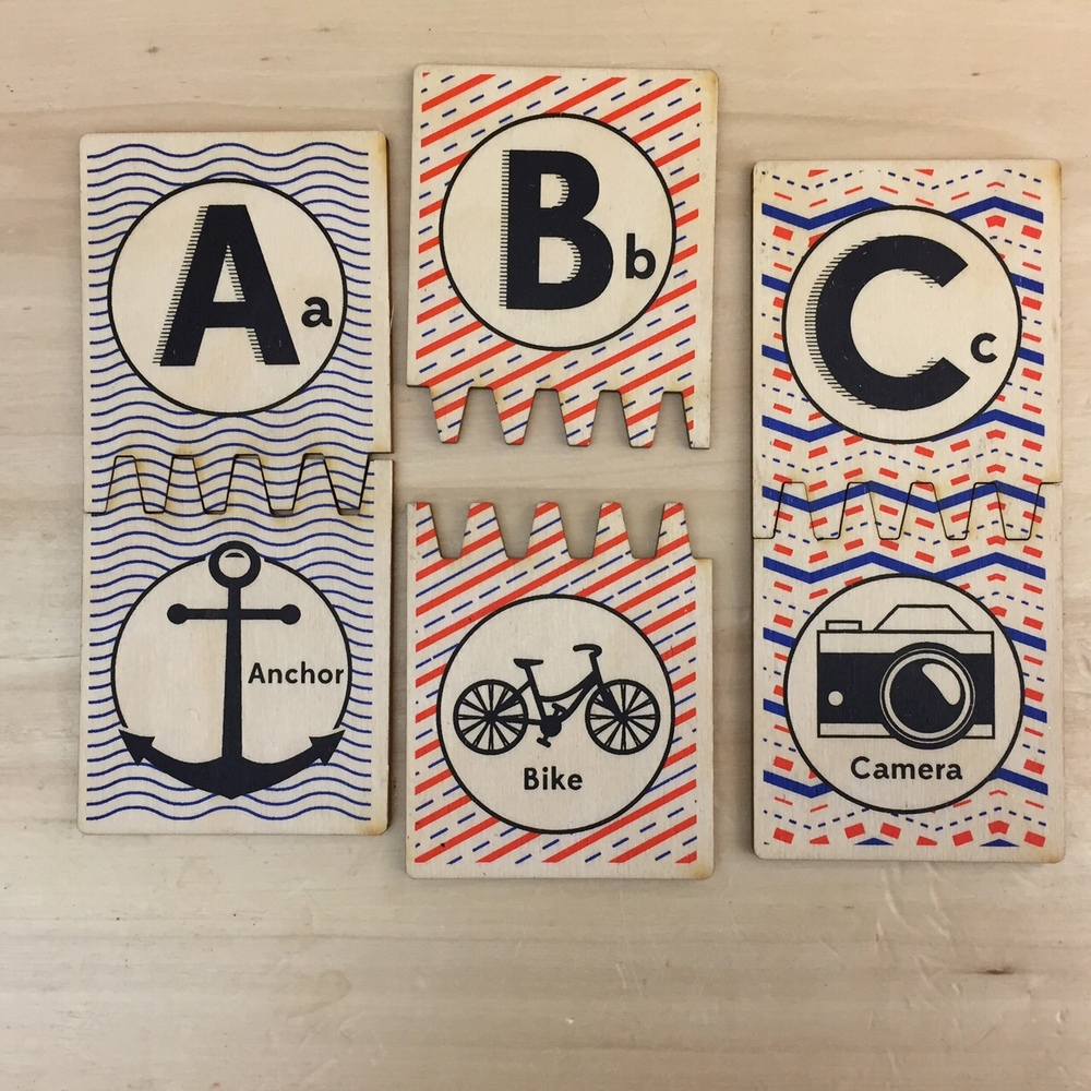 Hipster ABC Wooden Matching Tiles by Tree Hopper Toys$49.99 for a full set