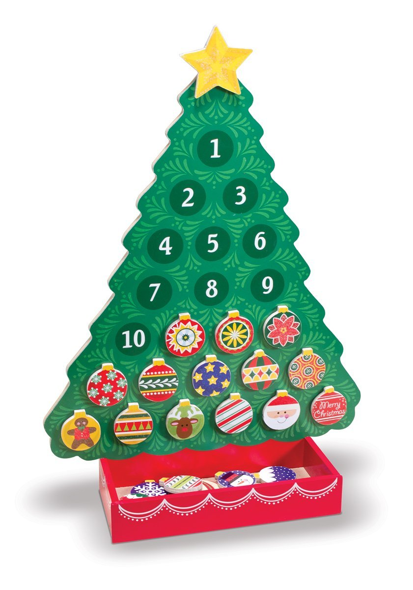 Decorate-a-Tree Advent Calendar by Melissa & Doug, Ages 3+ $19.99 Add an ornament each day, and by Christmas your tree will sparkling and festive! Use the wooden, magnetic ornaments year after year to build happy holiday memories.