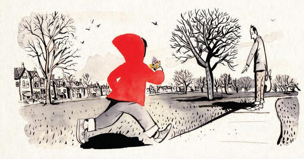 Illustration from Sidewalk Flowers by Jon Arno Lawson, Illustrated by Sydney Smith