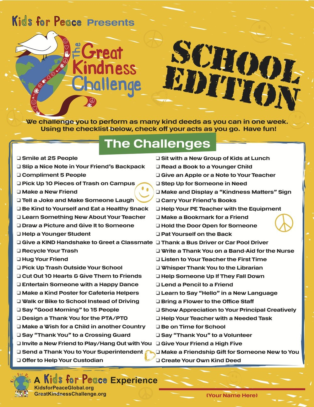Checklist for Kindess Challenge! School Age Edition.