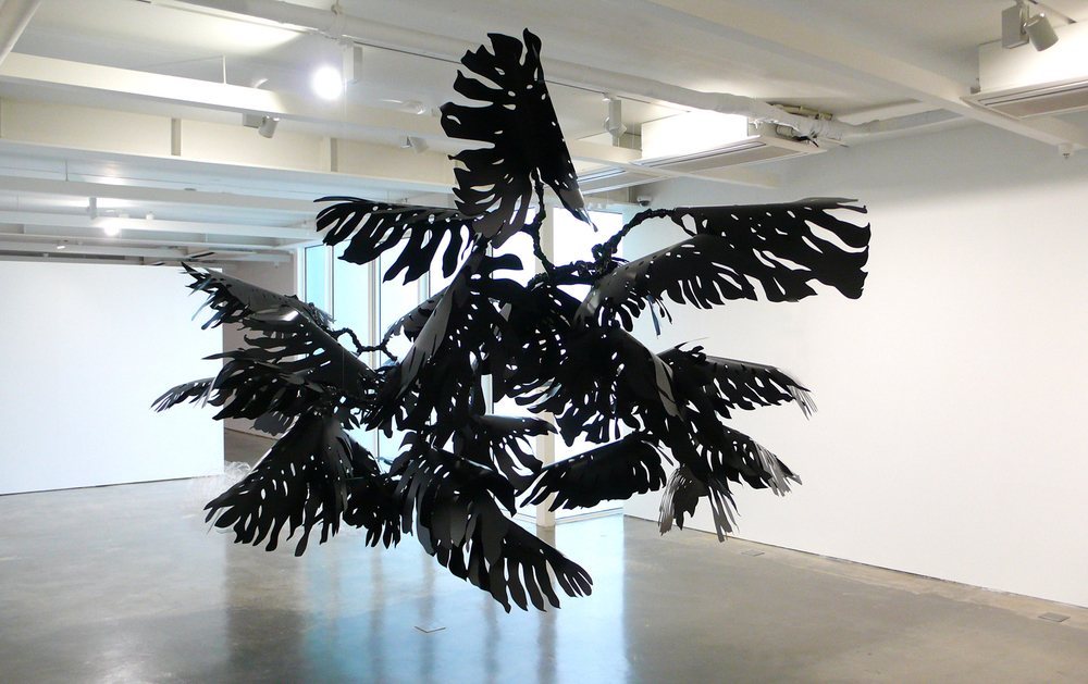 Monstera , 2012 metal, pvc, glue, nylon Installation at  Reflections on Nature , Songeun Art Space, Seoul, Korea