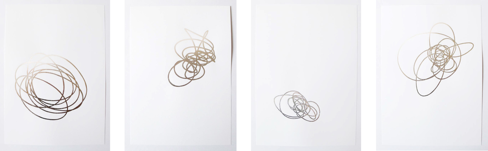 fath ll, lll, lV, Vlll, 2011 aluminium leaf, glue on paper, each 29,7 x 21cm