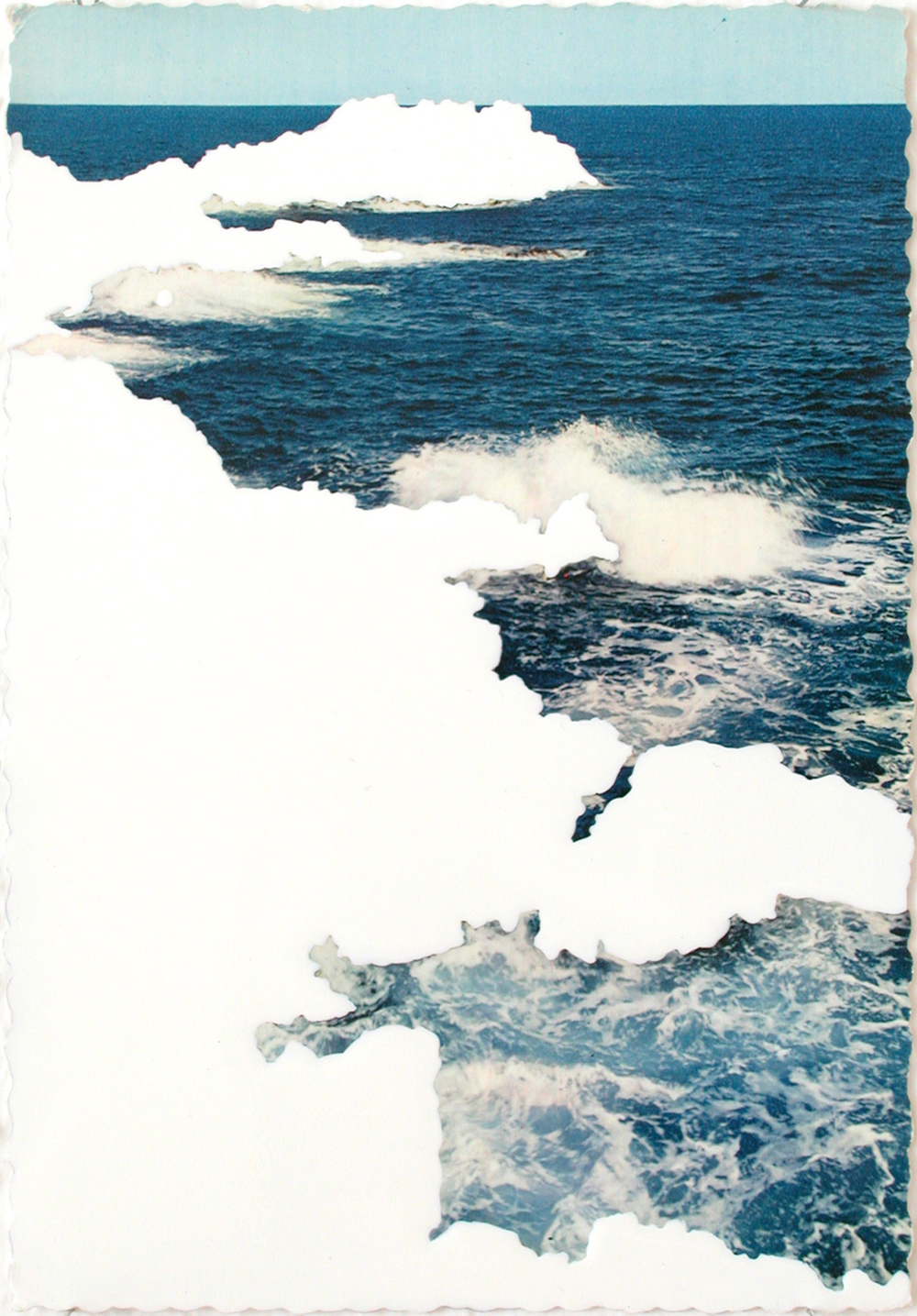 view,  2004, varnish on postcard, 15 x 10,5cm