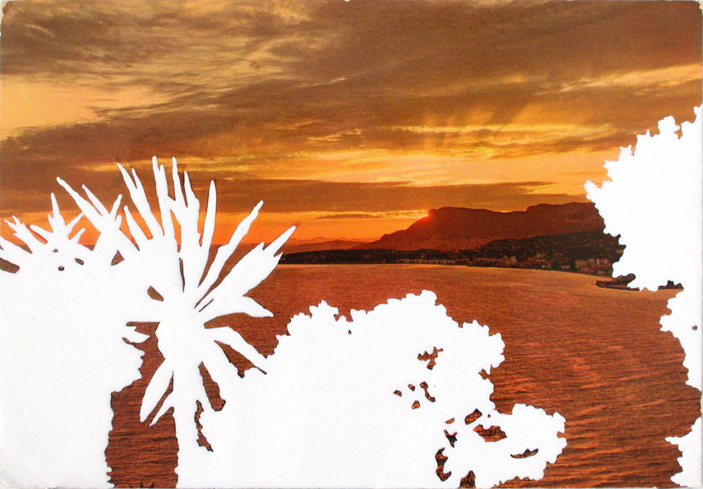 view,  2004, varnish on postcard, 10,5 x 15cm
