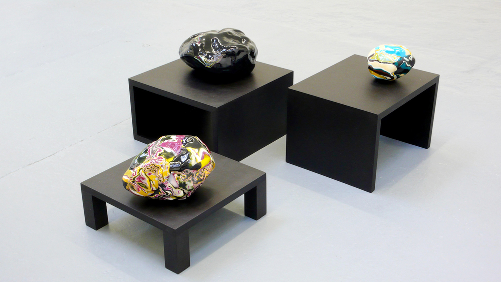 Erratic pebbles Vll, Vlll, lX, 2008, pvc, varnish, wire, paper, wood, dimensions variable