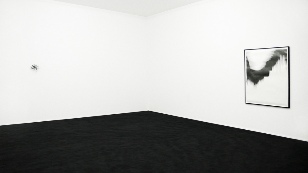 bourdon , 2010, nylon, 23 x 25 x 30cm;  draft V,  2010, pencil on paper, 140 x 110cm;  rime , 2010, carpet, glass, dimensions variable    squall line, Les Modules, Palais de Tokyo, Paris