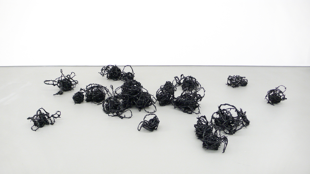 from the corner of your eye, 2011, plastic, wire, tape   stray currents, Towner, Eastbourne