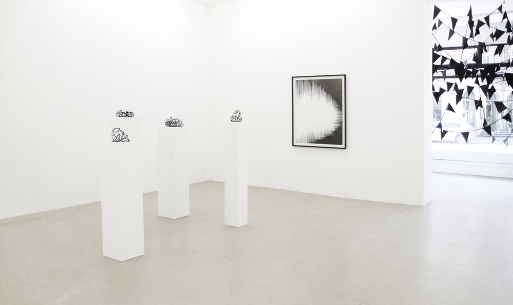 crystal silence l-lV   , 2011, wire, beads, dimensions variable  ; dust l  , 2011, pencil on paper, 110 x 86cm  ; rift  , 2011, plastic, textiles, dimensions variable      hyle, 2011, Lullin + Ferrari, Zürich