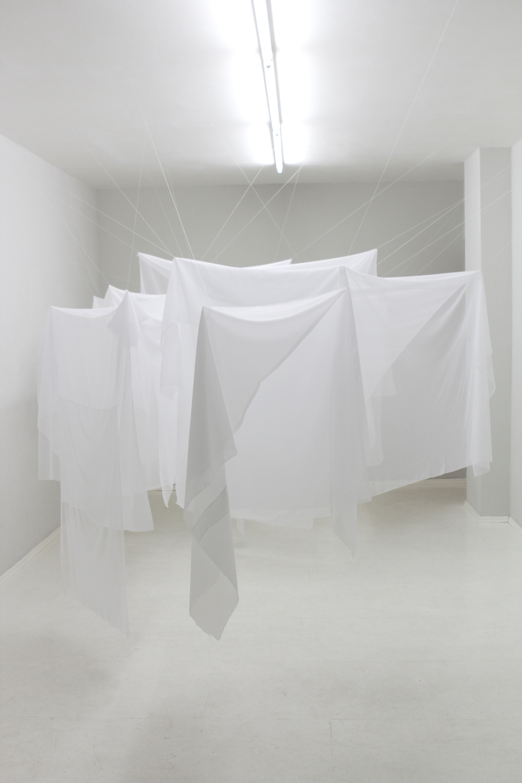 Traps , 2014, textiles, tread  Traps, NuN, Berlin