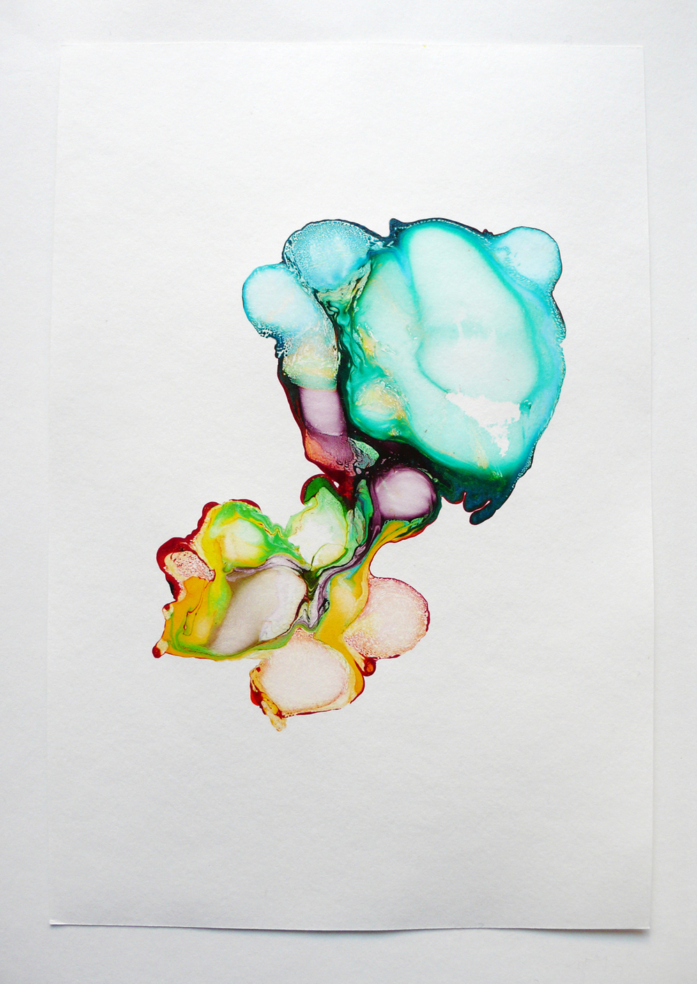 scattered rainbow/ solongo, 2014, ink on paper, 29,7 x 20cm