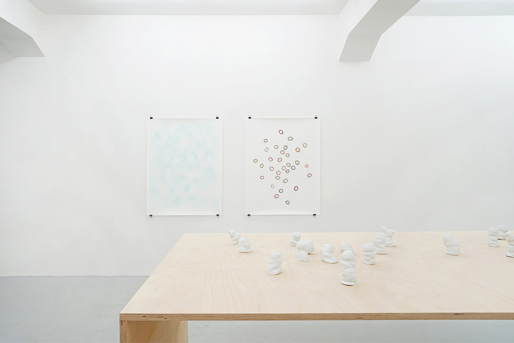 gspängschtli, 2016, porcelain, dimensions variable; vision cloud, 2016, ink, pencil, gouache, spray paint, each 131 x 101cm