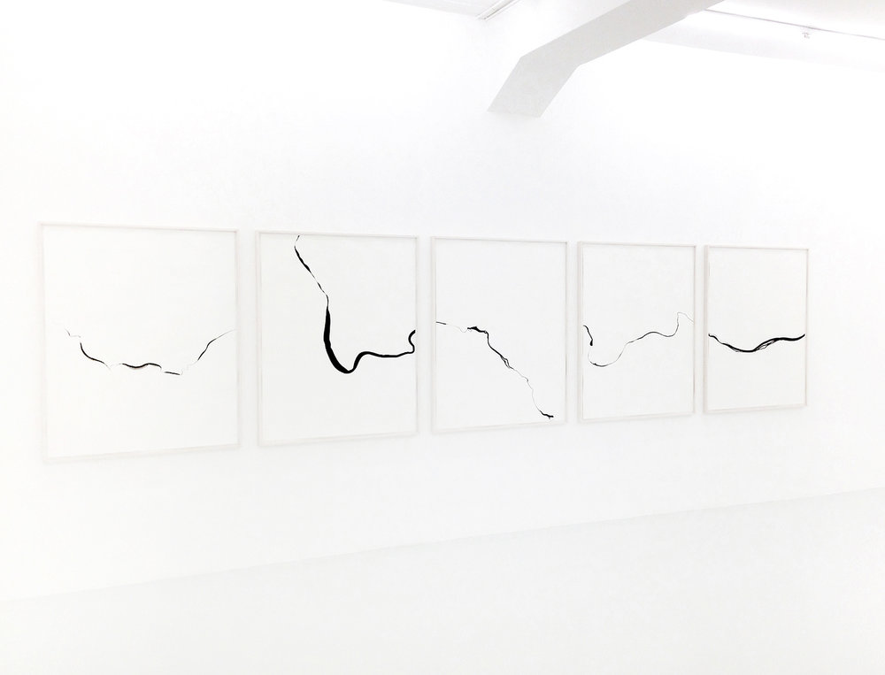 Refractions/ Tuppiyak, 2018, ink on paper, 125 x 550cm (5 pieces)