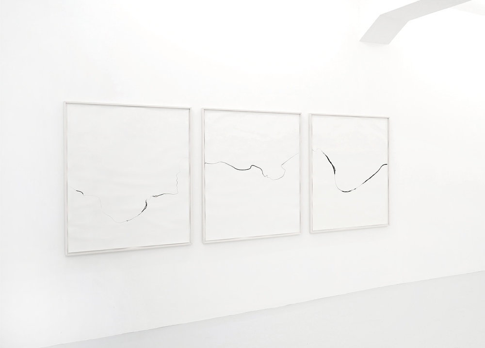 Refractions/ luwimbi , 2018, ink on paper, 125 x 330cm (3 pieces)